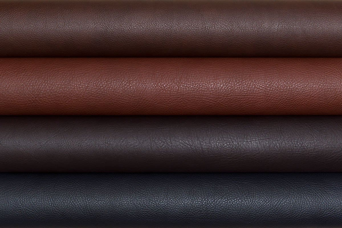 various types of leather folded and stacked