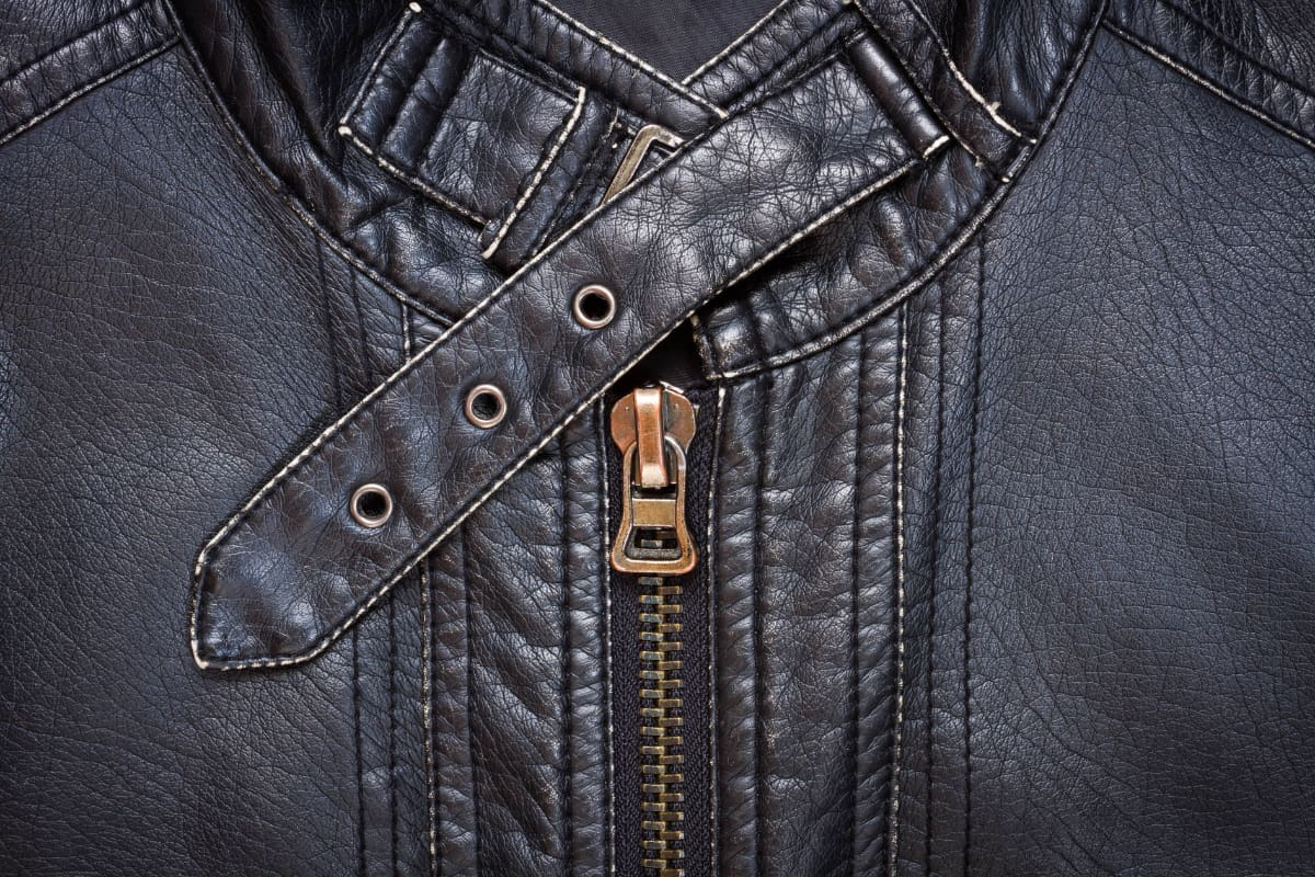 Close up of a black leather jacket