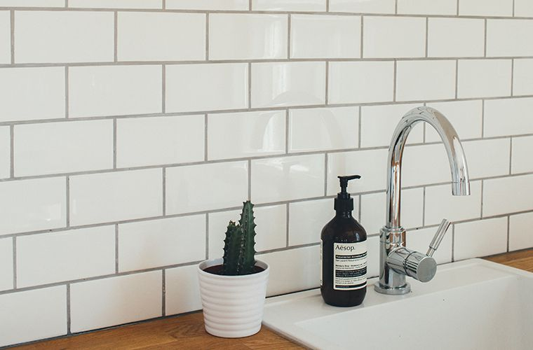 modern kitchen countertop with tiles