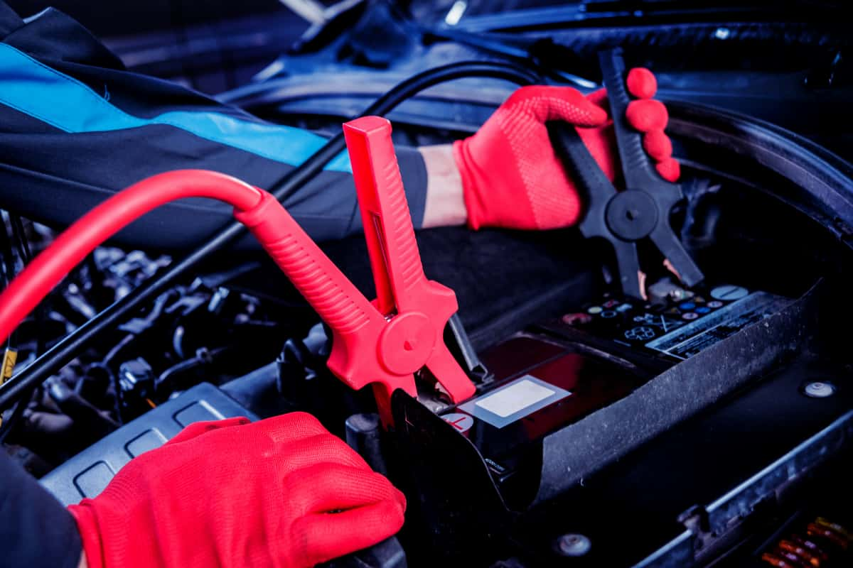 Heavy Duty Jumper Cables Attached To Battery
