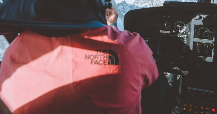 Pilot wearing a North Face jacket