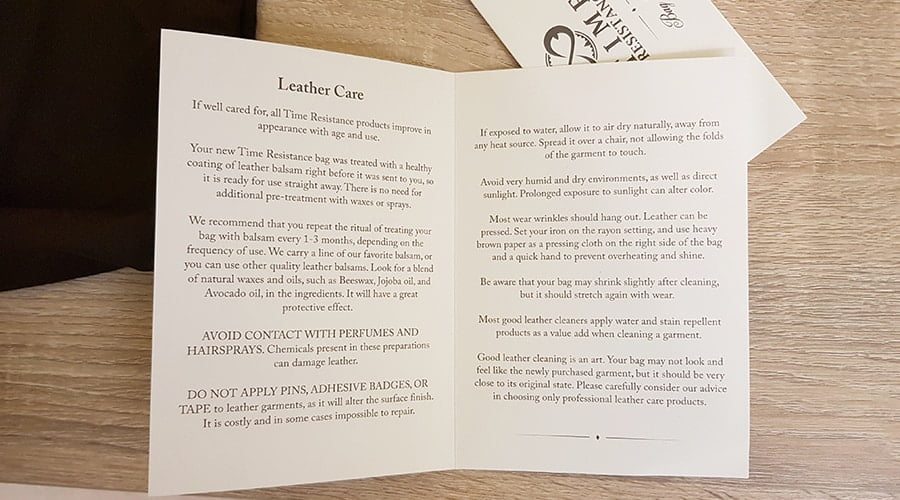 Leather care instructions for Time Resistance Messenger Bag 'On The Road'