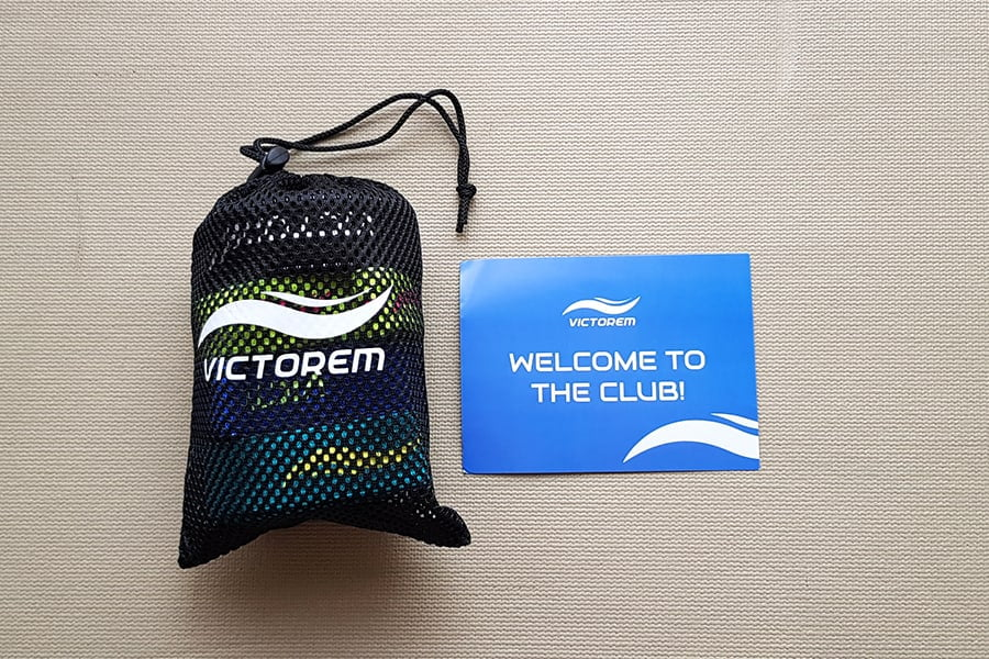 Victorem Pull-Up Assist Bands in a carry bag with instructions
