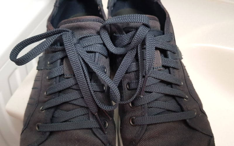 shoes with blue shoelaces